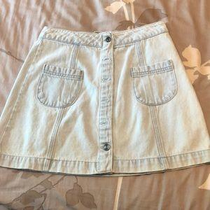 Button up light denim skirt